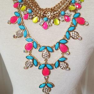 Gatsby style bib necklace multicolor rhinestones